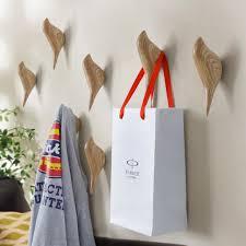 2PC Wooden Bird Shaped Resin Coat Hook Wall Hanging Artistic Gift Cloth Hat  Hangers Home Garden