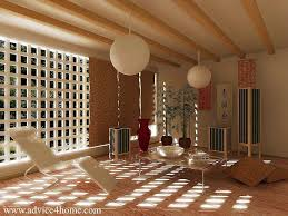 oriental decor living room with hanging bubble light and chairs design