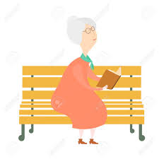 an elderly woman with a book on a bench old woman reading the book
