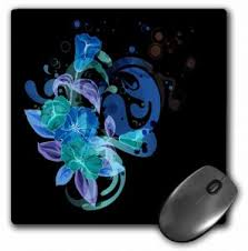 3drose Llc 8 X 8 X 0 25 Inches Mouse Pad Pretty Bright Blue Green And Purple Flower Design On A Contemporary Background Mp_78596_1