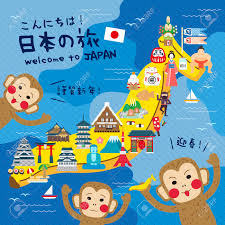 Animated Travel Map Funny Japan Travel Map With Banana Hello Japan Travel And Happy