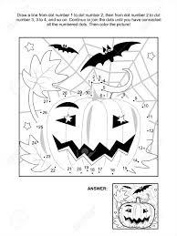 Verbind De Stippen Foto Puzzel En Kleurplaat Halloween Nacht Scène