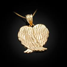 gold angel wings pendant necklace