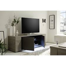 Palermo Small TV Stand In Oak Grey With LED Lights  Stands Sena Home  Furniture SenaFurniture