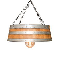 light fixture made from the top of a barrel
