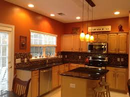 Burnt Orange Kitchen With New Lighting Ideas For The Home