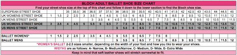 Bloch Ballet Size Chart Ballet Shoes Width Chart Best Picture Of Chart Anyimage Org
