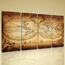 huge vintage map other retro wall art canvas print living room 4 pieces 99 x60 straw on vintage wall art canvas with huge vintage map other retro wall art canvas print living room 4