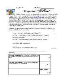 Food Pyramid Project Mi Plato Project Realidades 3b Spanish Food Pyramid Project La Comida