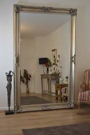 8ft x 5ft V Large Antique Style Silver Rectangle Wood Wall Mirror Leaner
