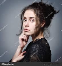 Beautiful Woman Curve Hair Tattoo Black Transparent Blouse Posing