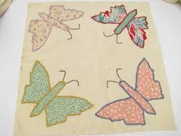quilt top blocks, hand-stitched patchwork applique butterflies ... & vintage quilt top blocks, hand-stitched patchwork applique butterflies, old  cotton print fabric Adamdwight.com