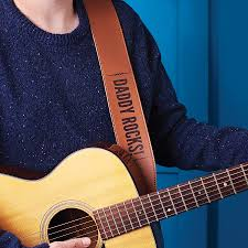 personalised leather guitar strap by lou brown designs