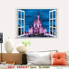 3d window castle wall stickers home decals fairy tale wall decal paper craft kids room decoration on castle wall art mural with 3d window castle wall stickers home decals fairy tale wall decal