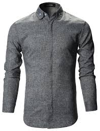 Mens Designer Grey Shirt Mens Slim Fit Designer Round Collar Button Down Dress Shirts