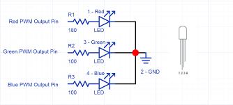 Rgb wiring for sparkfun's mon cathode rgb led