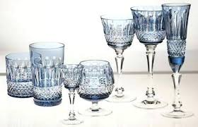 colored crystal in pale wine glasses waterford