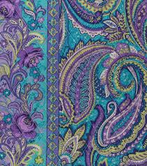 Turquoise Purple Paisley Quilt Fabric 42"