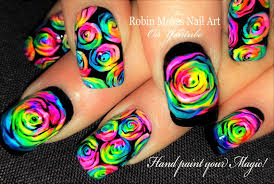 Robin Moses Nail Art: Rainbow Roses Nail art and how to paint them ...