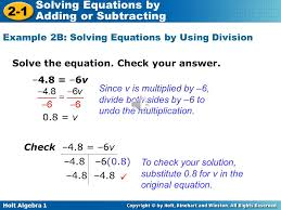 example 2b solving equations by using division