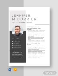 Football Coaching Resume Template College Football Coach Resume Template Word Apple Pages
