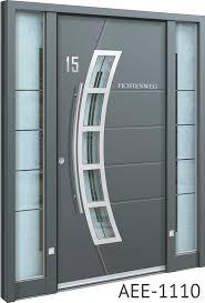 light grey aluminium entrance doors
