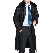 men s black trench coat with removable fur collar