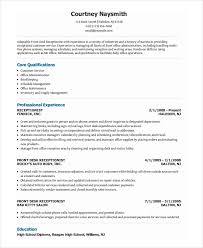 resume for front desk receptionist resume template 8 free word pdf document