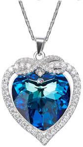 heart shaped pave sterling silver pendant necklace crystals from swarovski