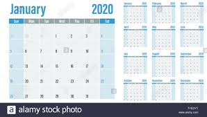 Planner 2020 Template Calendar Planner 2020 Template Vector Illustration All 12