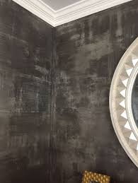 modern masters metallic plaster in color tungsten over pewter foil followed by a modern masters black decorative
