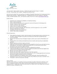 Resume Templates For Office Receptionist Samples Medical Sample 2012