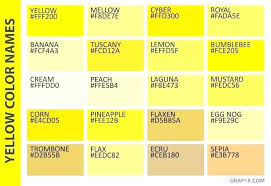 Shades Of Yellow Color Chart Burnt Yellow Color Giasuquynhon Info