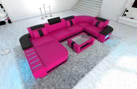 Sofa Wohnlandschaft Dresden U Form Pink Schwarz