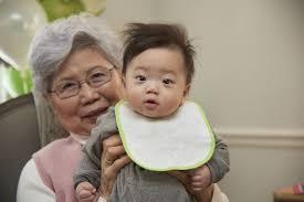 Japanese girl caring for grandpa