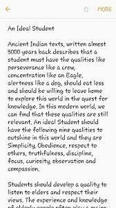 an essay on an ideal student brainly