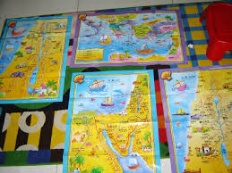 4 Full Color Sunday School Classroom Large Bible Theme Wall Maps English Chinese Bilingual Edition