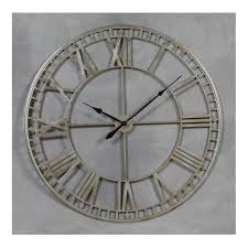 extra large silver metal wall clock roman numerals skeleton style frame