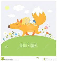 Carta Con La Volpe E La Bambina Illustrazione Vettoriale - Illustrazione di  infanzia, bambini: 69029994
