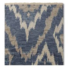 river ikat hand knotted rug blue grey