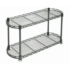 hubert 2 tier countertop display rack rectangular grey colored steel
