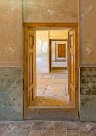 stock photo view of the old doors page from inside of the old citadel karmin khan in the centre of the shiraz city