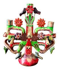 Aurelio Flores Mexican Pottery Tree of Life Candelabra | Chairish