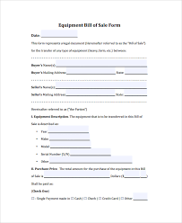7+ Sample Equipment Bill Of Sales | Sample Templates