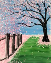 3rd 4th 5th graders are invited to join the painting fun they can paint this cherry blossom tree step by step with me and take it home the same day