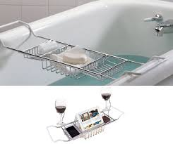 iPEGTOP 304 Stainless Steel Over Bath Tub Racks Shower Organizer Bathtub  Caddy Tray with Extending Sides