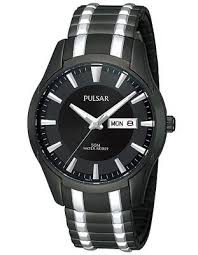 25 best ideas about men s watches black men s pulsar expansion band mens watch black dial day date black ip