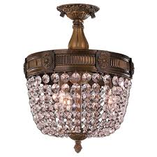 winchester collection 3 light antique bronze finish and clear crystal semi flush mount ceiling light