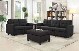 Contemporary sectional sofas Deep Seat Contemporary Sectional Sofa Set Couch Microsuede Reversible Chaise Light Black Dream Home Furniture Contemporary Sectional Sofa Set Couch Microsuede Reversible Chaise