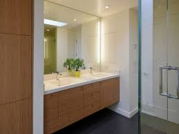 Bathroom Vanity Mirrors With Light Fixture And Floating Wood Cabinets Plus  Recessed Ceiling Lighting For V